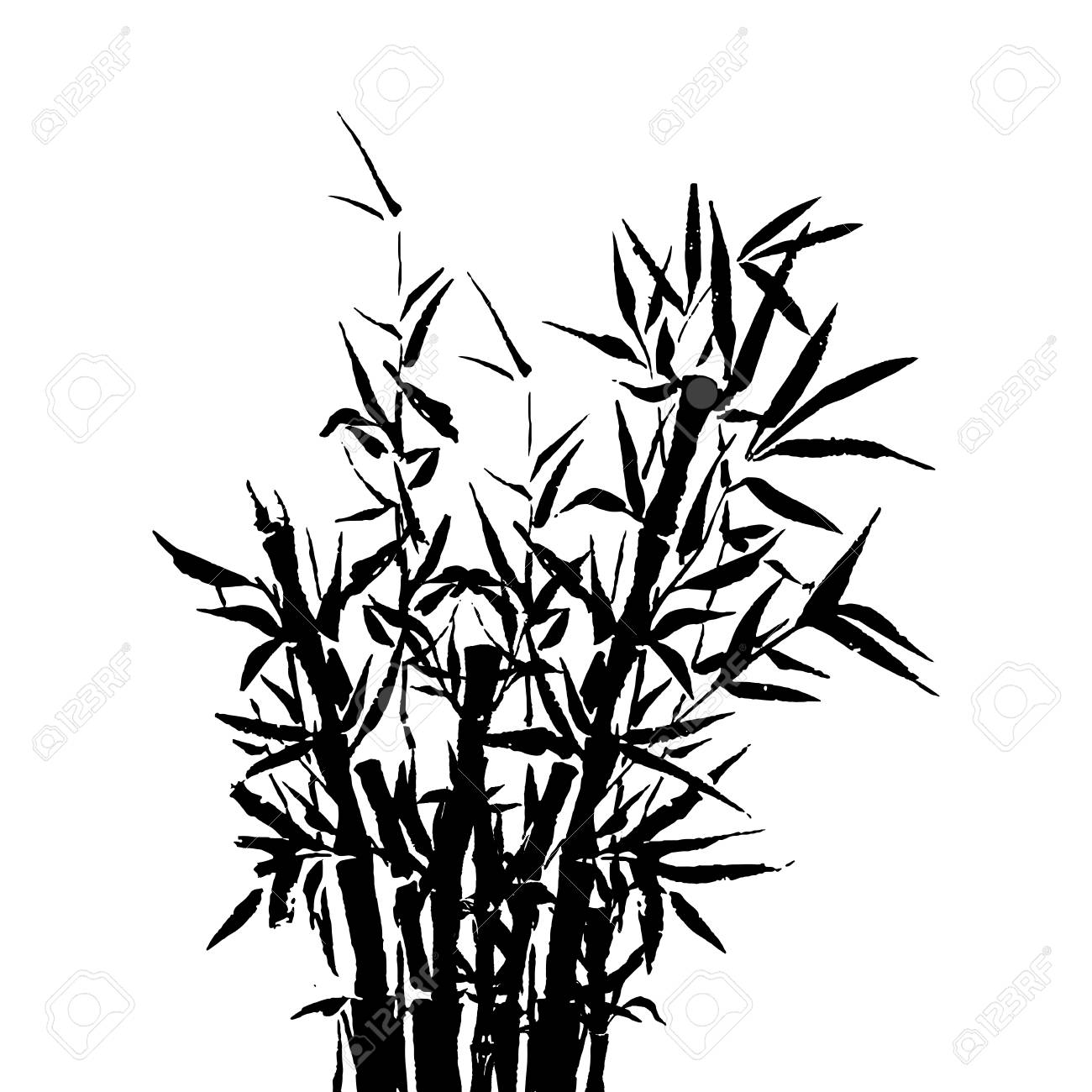 1300x1300 Black Inked Bamboo Tree Japanese Plant Or Tree. Traditional Sumi