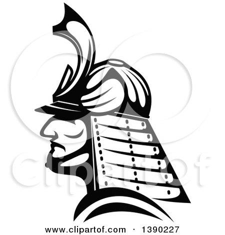 450x470 Clipart Of A Tough Japanese Samurai Warrior Holding Swords