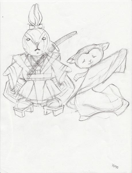 460x600 Japanese Kabuki Warrior Bunny And Sheep Geisha With Josie's Doll