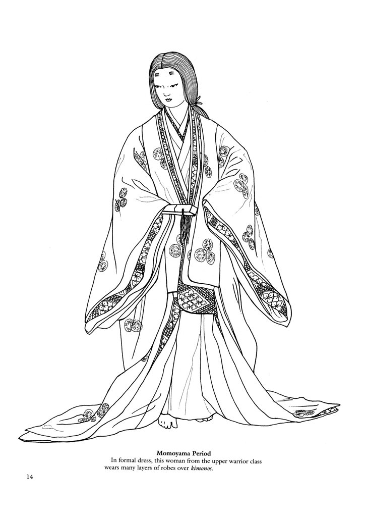 724x1024 Japanese Clothing Colouring Pages. Digi Stamp