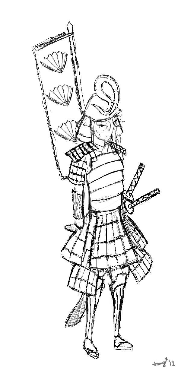 600x1230 Drawn Samurai Samurai Armor
