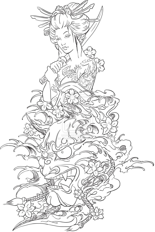 1024x1535 Geisha And Hannya Tattoo Design By Phrance89 Tattoo Lovers