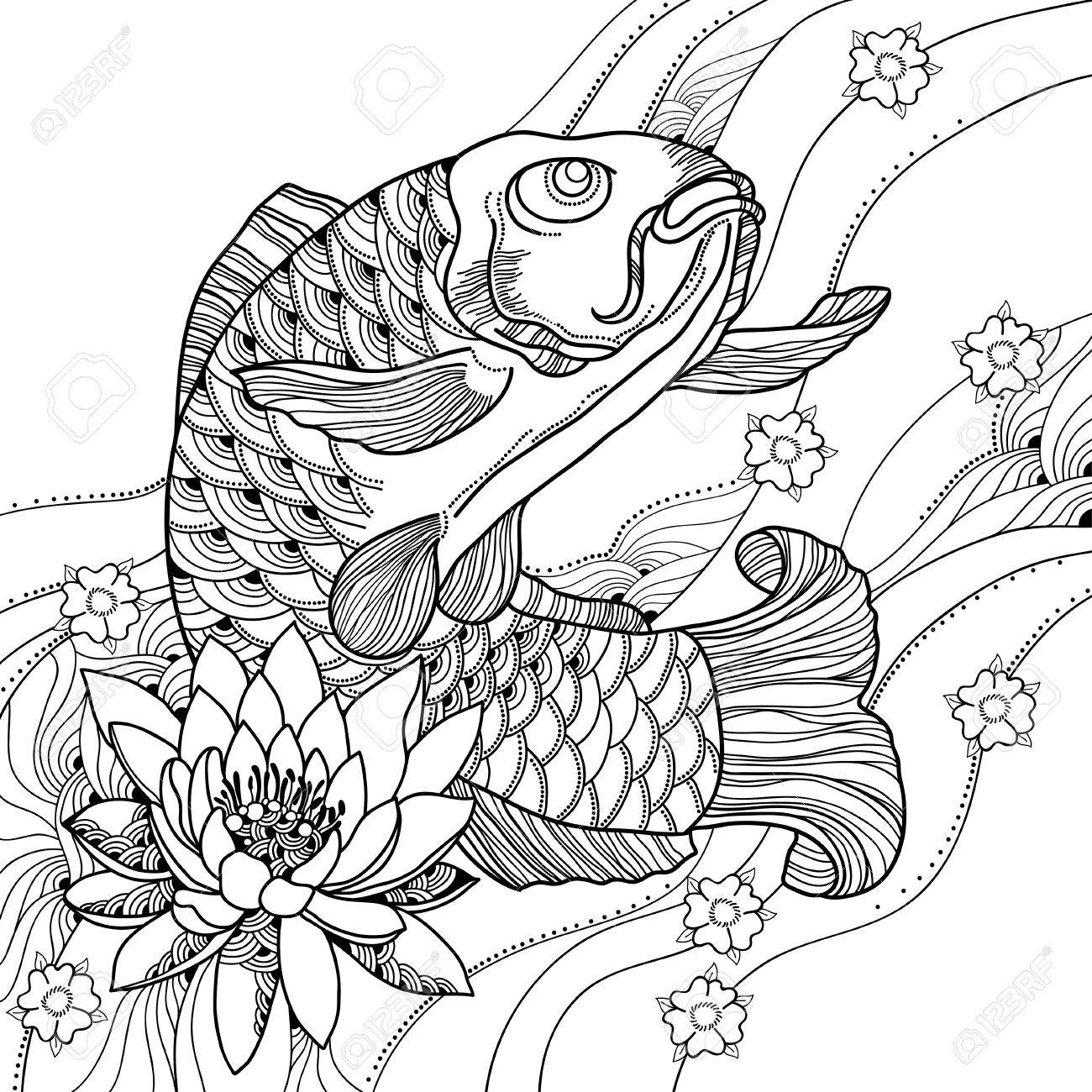 1300x1300 Illustration With Drawn Outline Koi Carp, Waves And Lotus Or Water