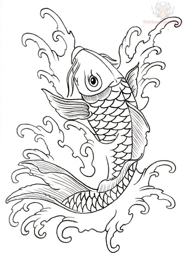 600x822 Koi Outline Tattoo Designs Leather Work Coy Fish