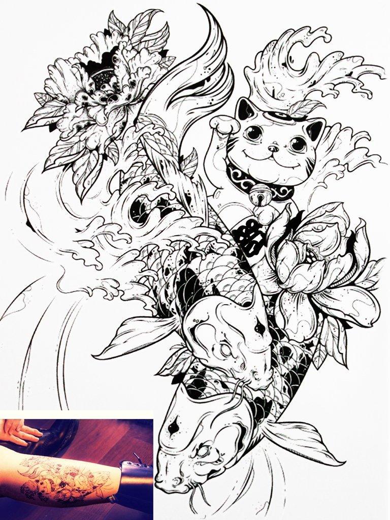 768x1024 Novu Ink Tattoo Artist Temporary Tattoo Hand Drawn Waterproof