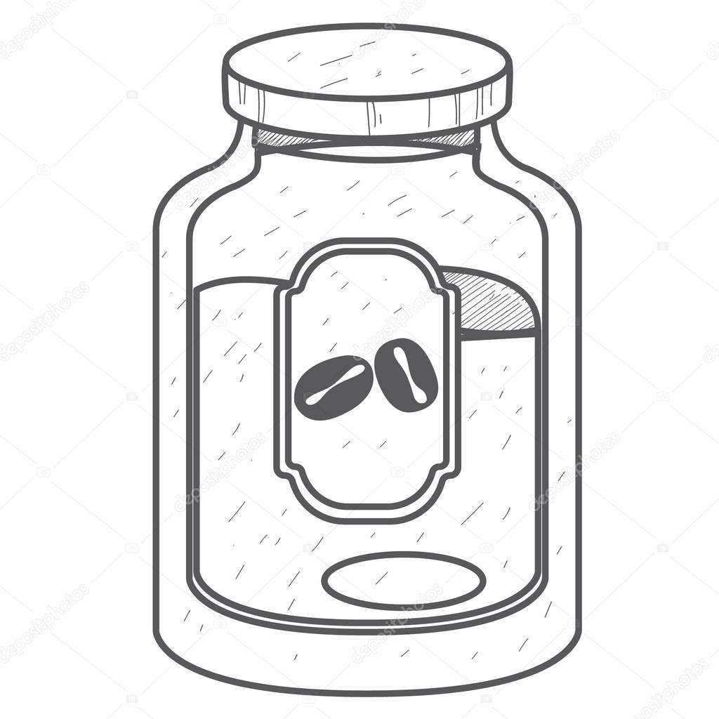 1024x1024 Glass Jar Of Ground Coffee Logo, Outline Drawing, Stock Vector