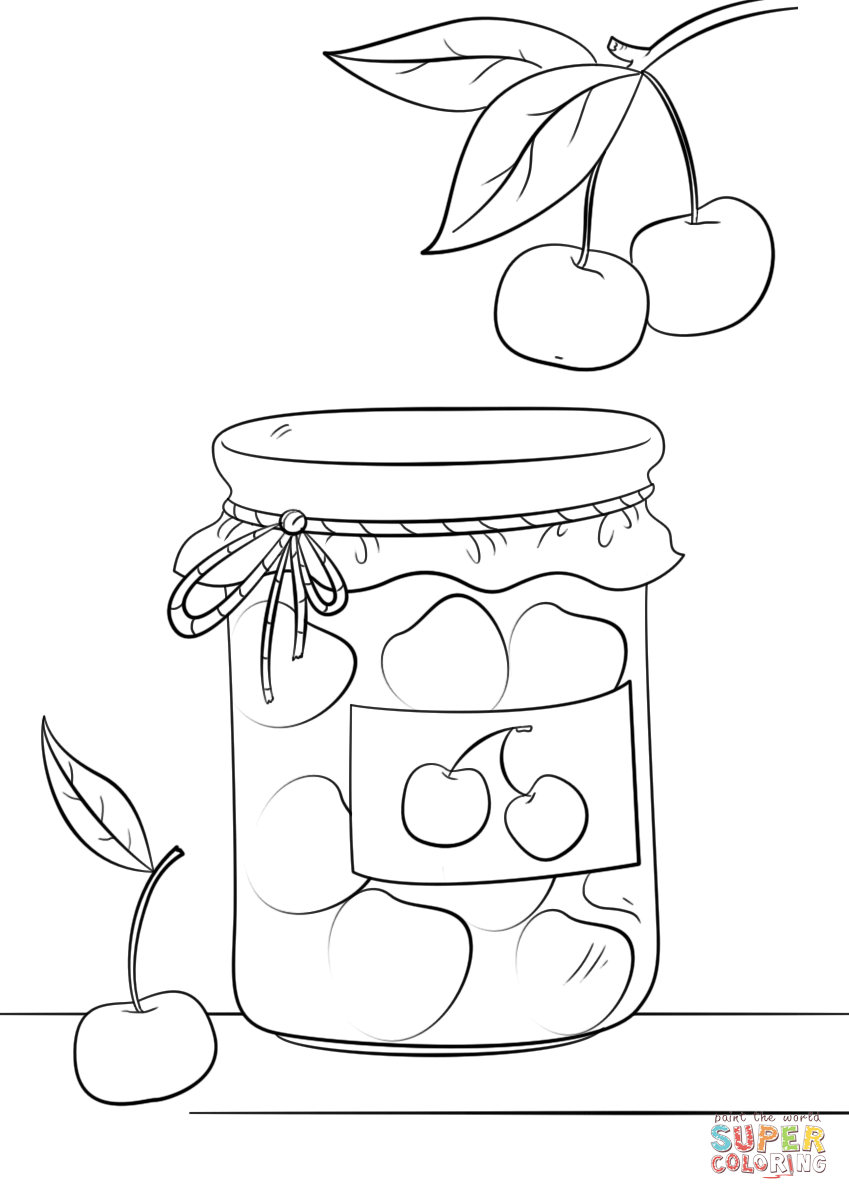 849x1200 Cherry Jam Jar Coloring Page Free Printable Coloring Pages