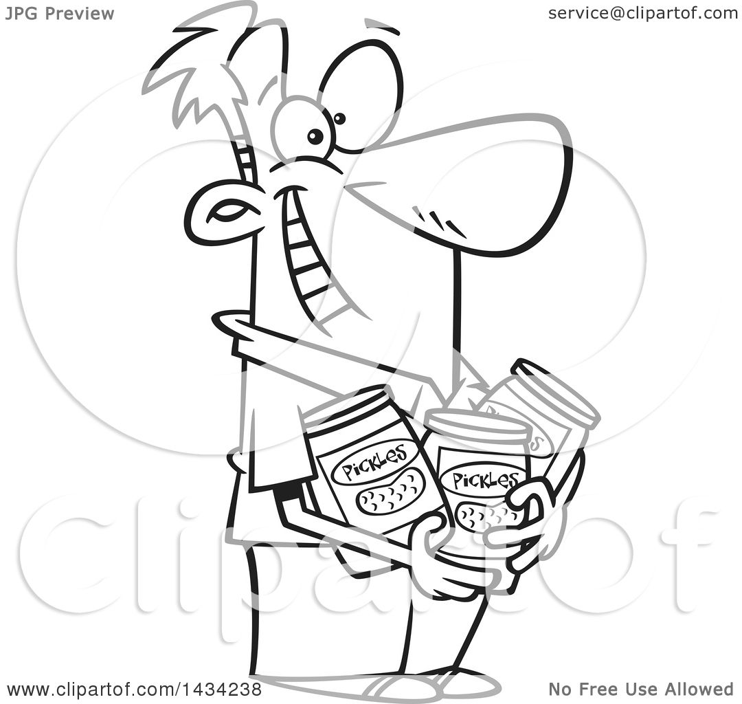 1080x1024 Clipart Of A Cartoon Black And White Lineart Happy Man Holding