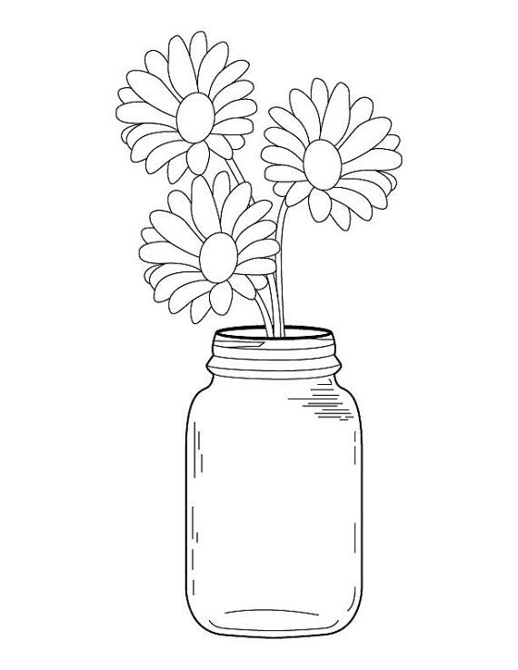 570x738 Mason Jar Daisy Bouquet Coloring Page Jar, Embroidery And Cross