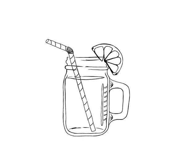 570x515 Mason Jar Image Outline Digital Clipart Png Jpg Hand