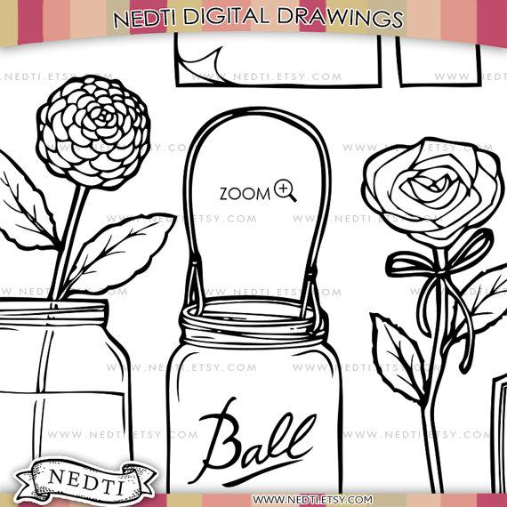 570x570 Mason Jars Doodle Clip Art Png Instant Download Mason Jar