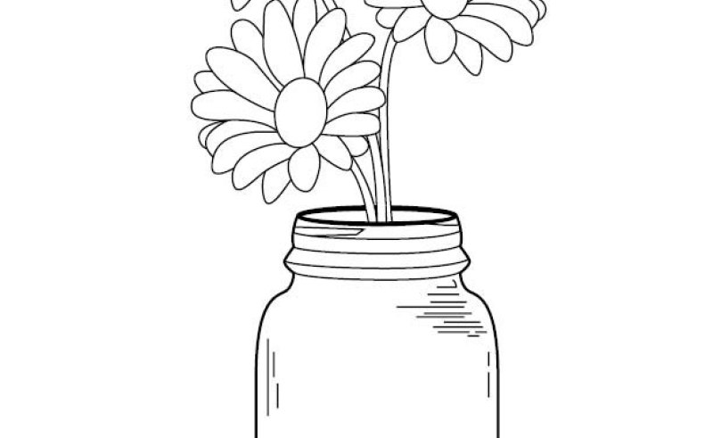 800x491 Outline Flowers And Mason Jar Gardening Flower And Vegetables