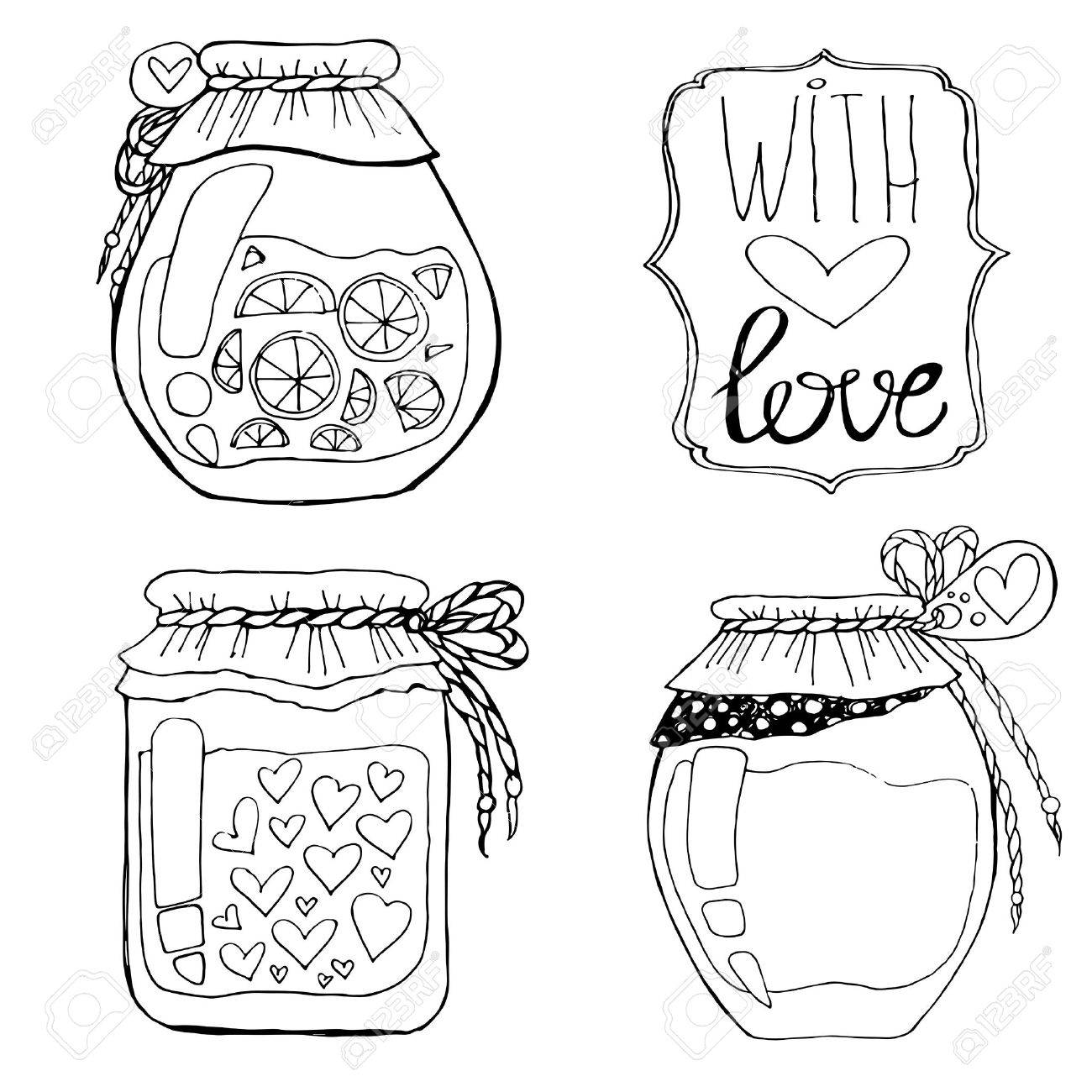 1300x1300 A Set Of Hand Drawn Cans. Cute Set Of Jars Of Jam Royalty Free