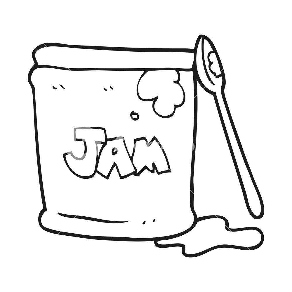 1000x1000 Freehand Drawn Black And White Cartoon Jam Jar Royalty Free Stock