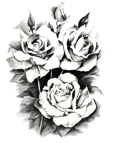 380x479 Black Flower Temporary Tattoo