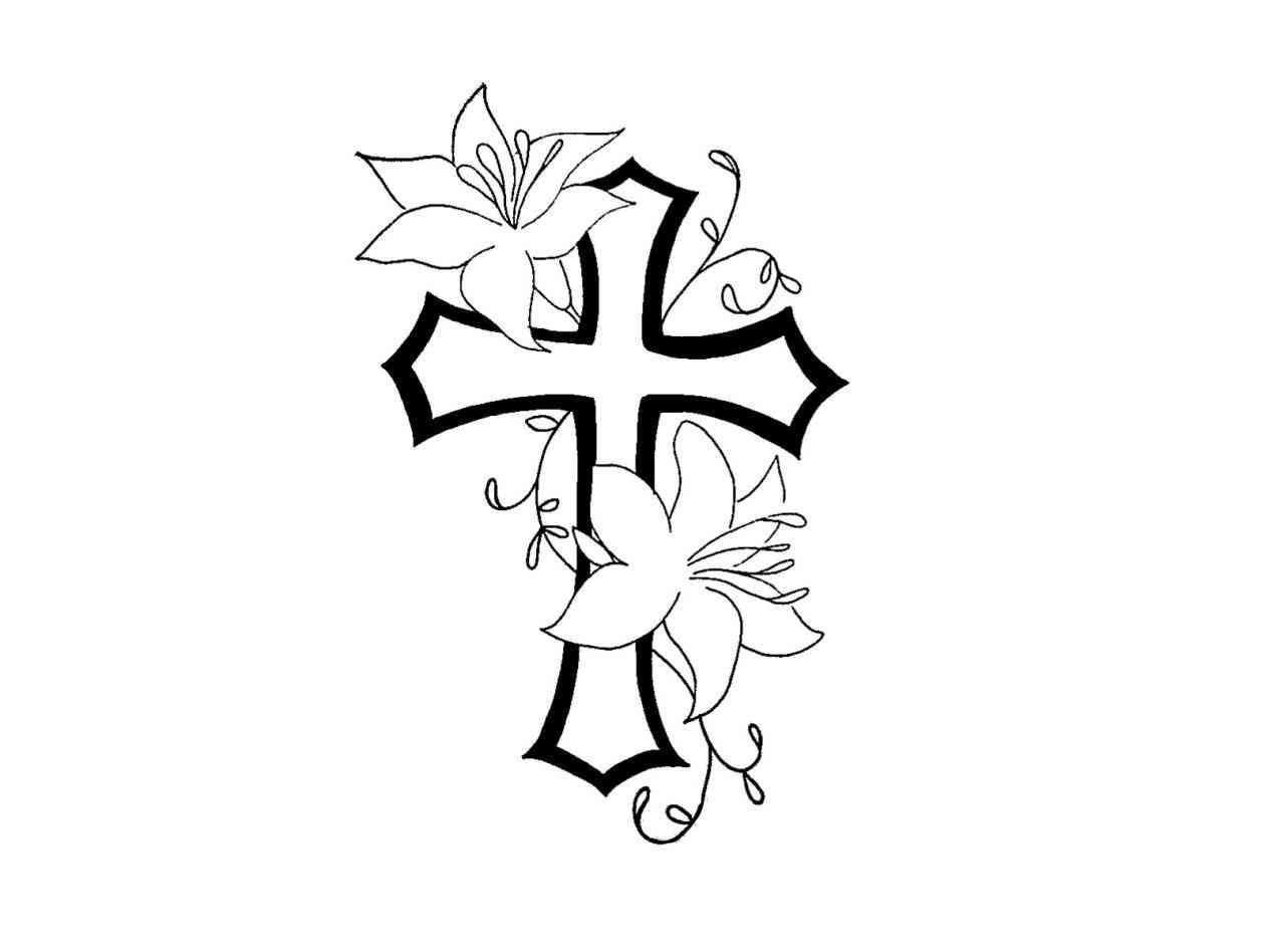 1264x948 Drawing Tattoo With A Cross Like The Jasmine Flowers With Unique