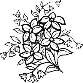 280x280 Black And White Flower Outline Collection