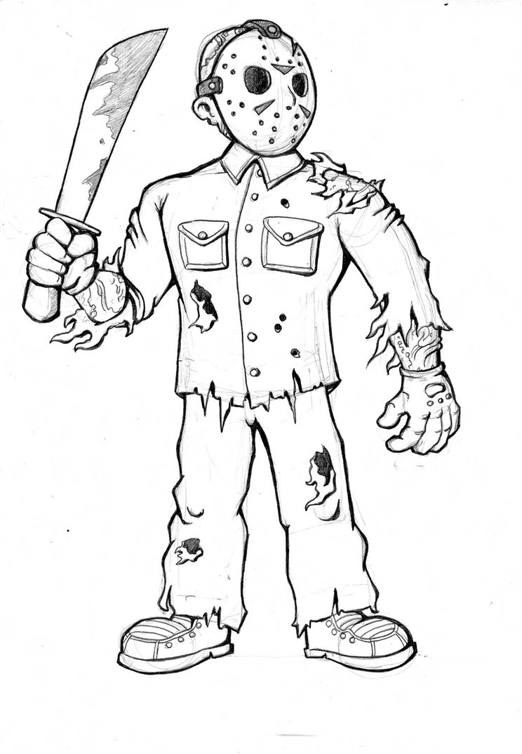 744x1074 Jason Voorhees Drawing By