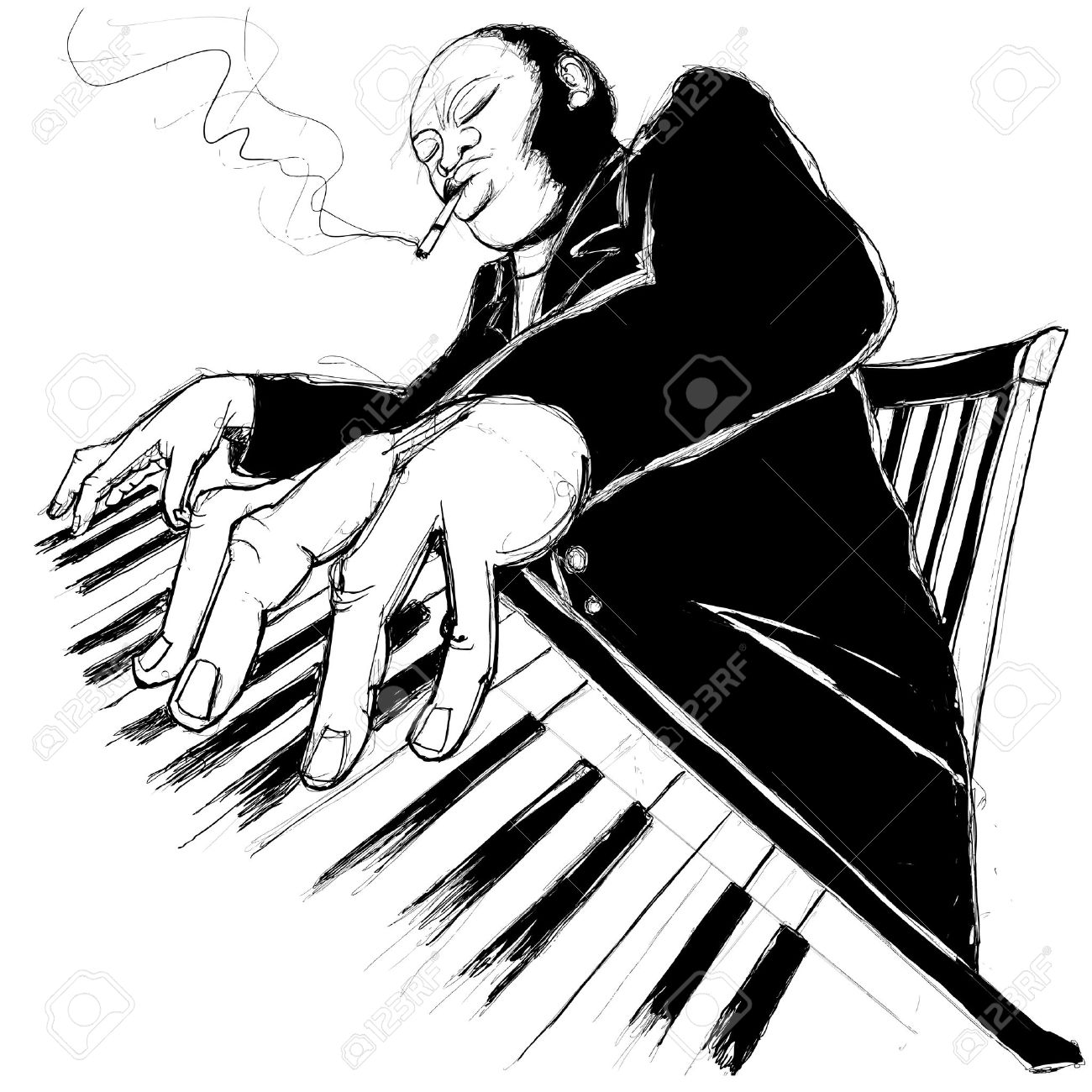 1300x1300 Illustration Of A Jazz Ragtime Pianist Royalty Free Cliparts