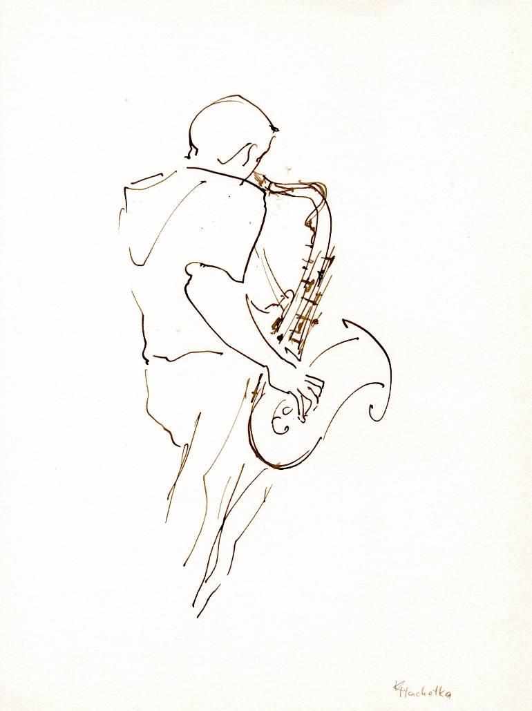 770x1029 Saatchi Art Jazz Musicians 9 Drawing By Karina Plachetka