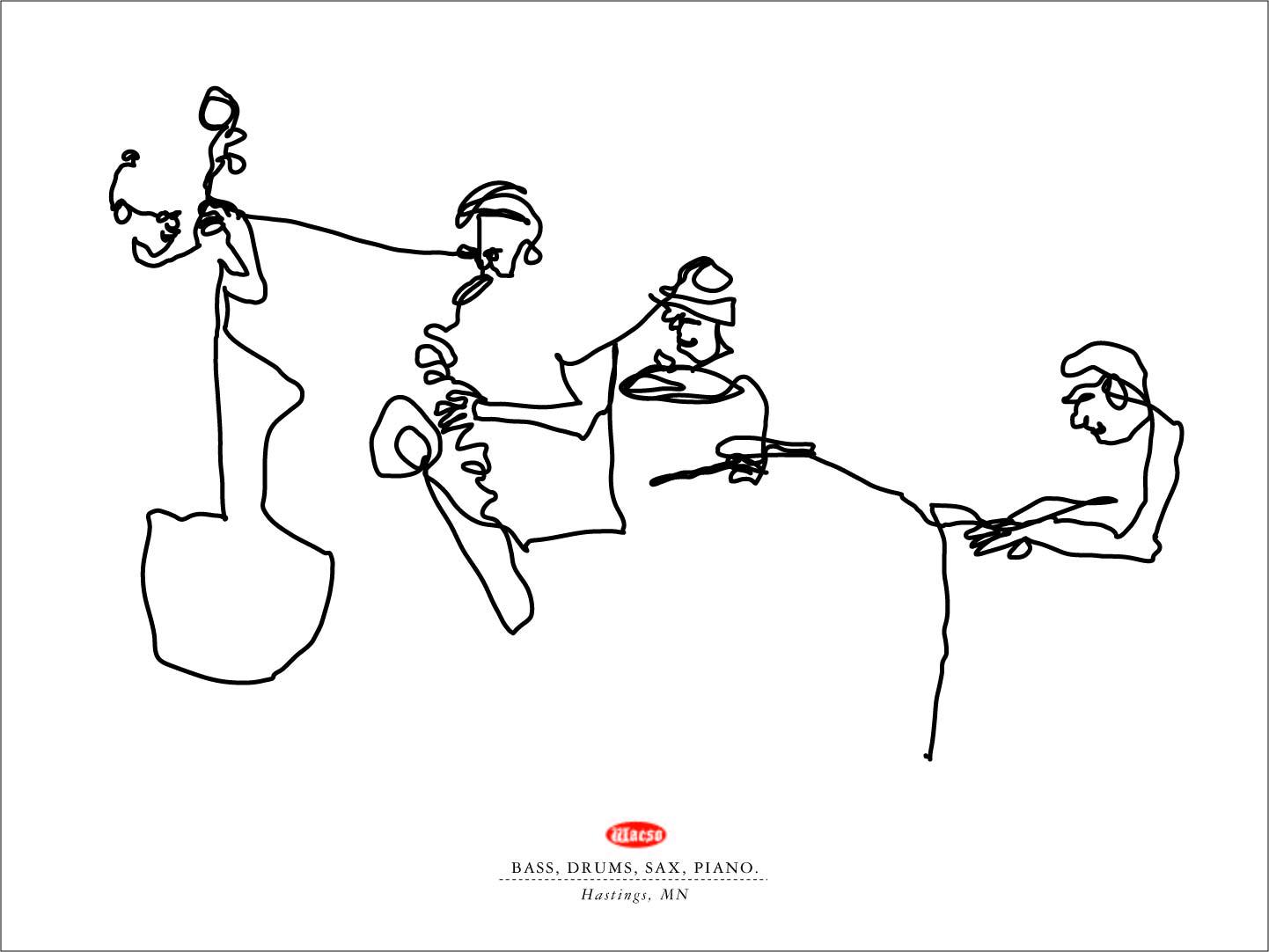 1442x1082 One Line Drawings. Jazz Players. Wacso