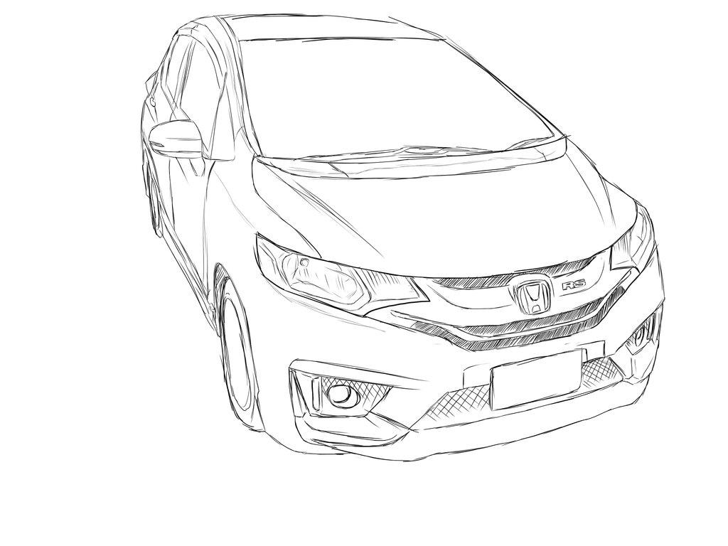 1024x768 Honda Jazz Fit Gk Quick Sketch By Confinez555