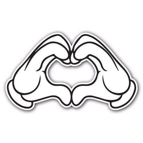 500x500 Heart 1 White Sticker Bomb Decal Car Macbook Laptop Funny Hoonigan