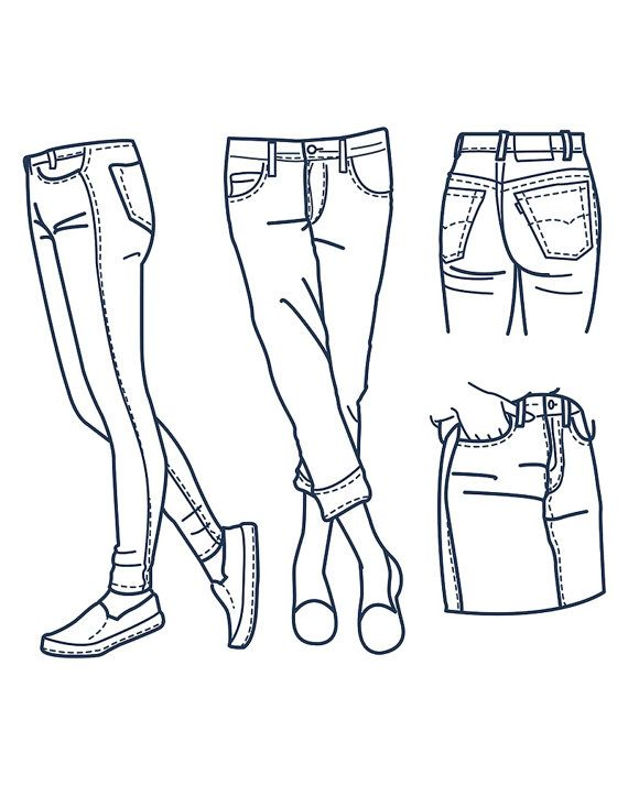 570x713 Hand Drawn Fashion Collection Of Girl's Jeans Outline. Clipart