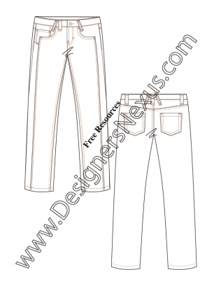 316x409 Illustrator Flat Fashion Sketch V11 Straight Leg Jeans With Front