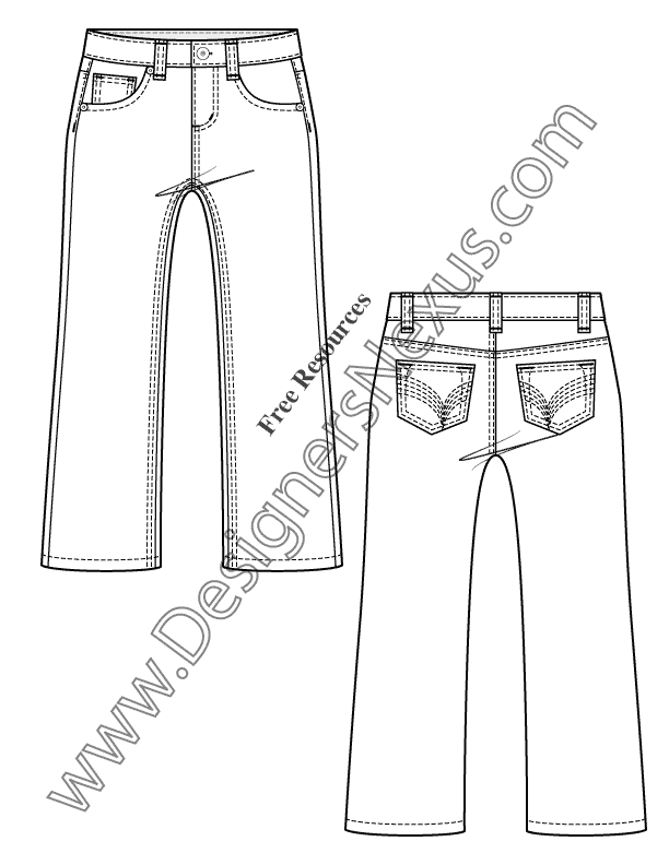 612x792 Kids Toddler 5 Pocket Jeans Flat Fashion Sketch V18