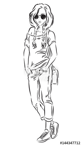283x500 Sketch Of Beautiful Fashion Girl In Jeans And T Shirt Isolated