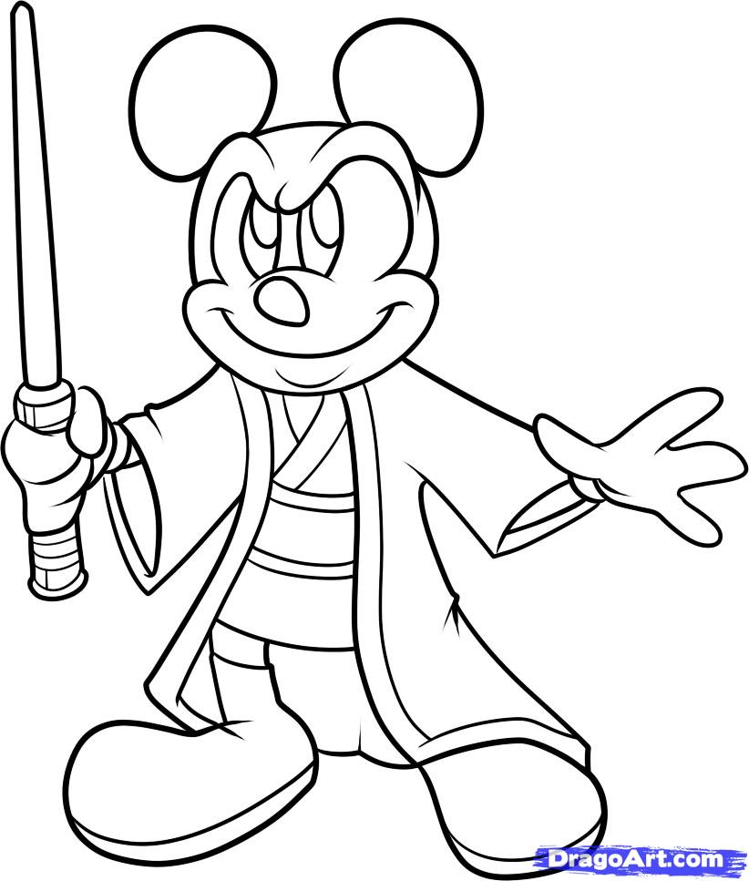 822x967 Mickey Mouse Outline Drawing How To Draw Jedi Mickey Disney