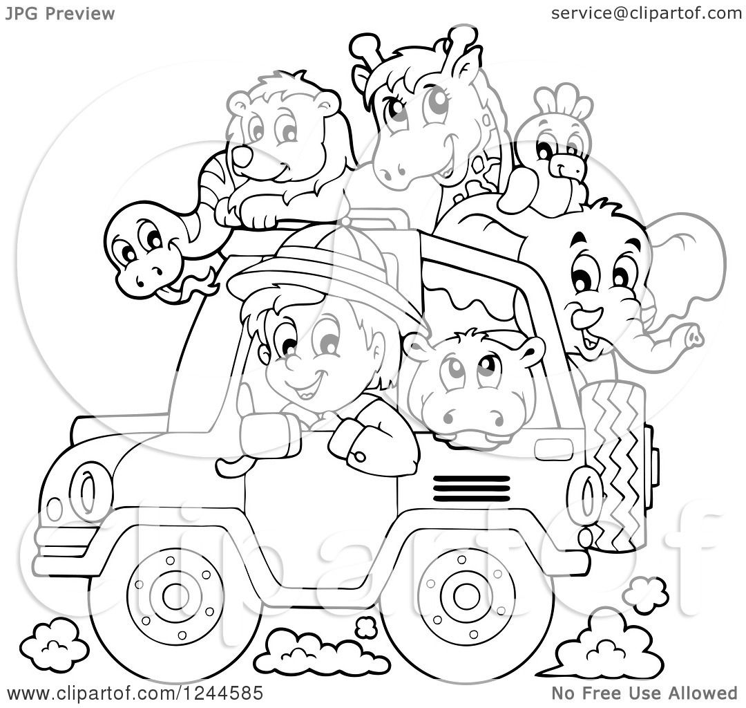 1080x1024 Clipart A Black And White Safari Boy Driving A Jeep Full