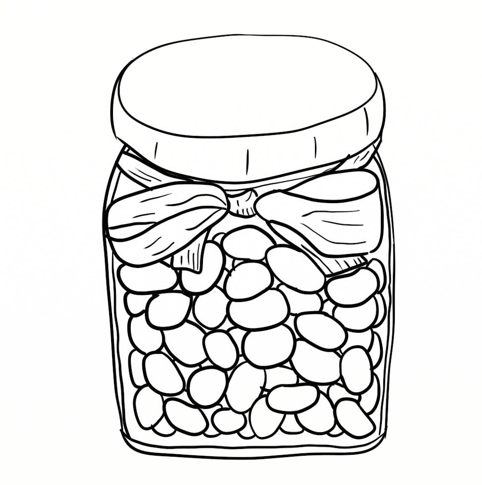 972x979 Printable Jelly Beans In Jar Coloring Page Pictures Coloring