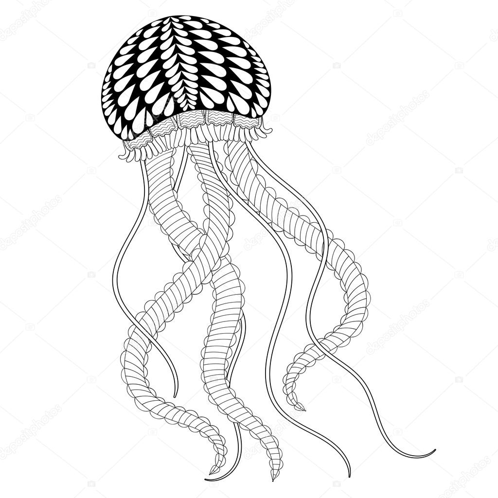1024x1024 Hand Drawn Sea Jellyfish For Adult Coloring Pages In Doodle, Zen