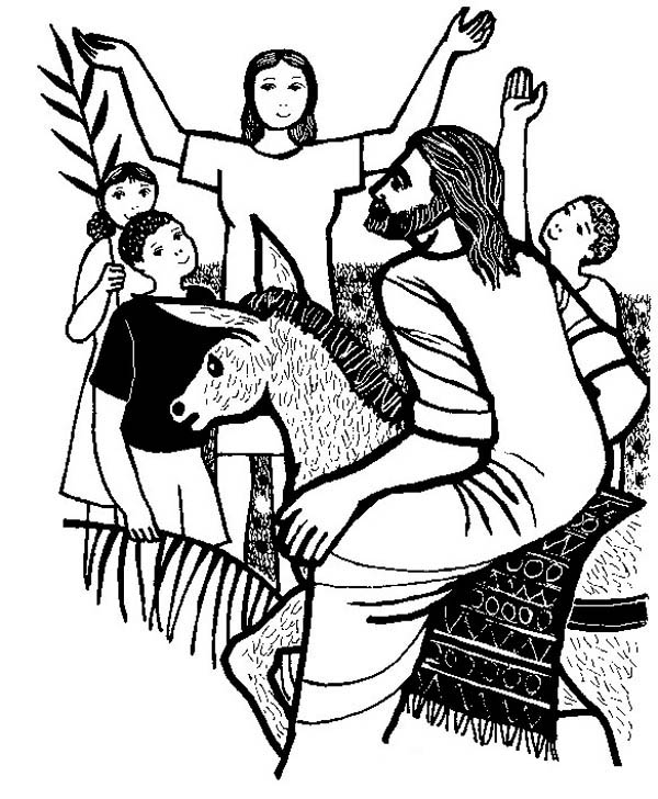 600x728 Happy People When Jesus Arrived To Jerusalem In Palm Sunday
