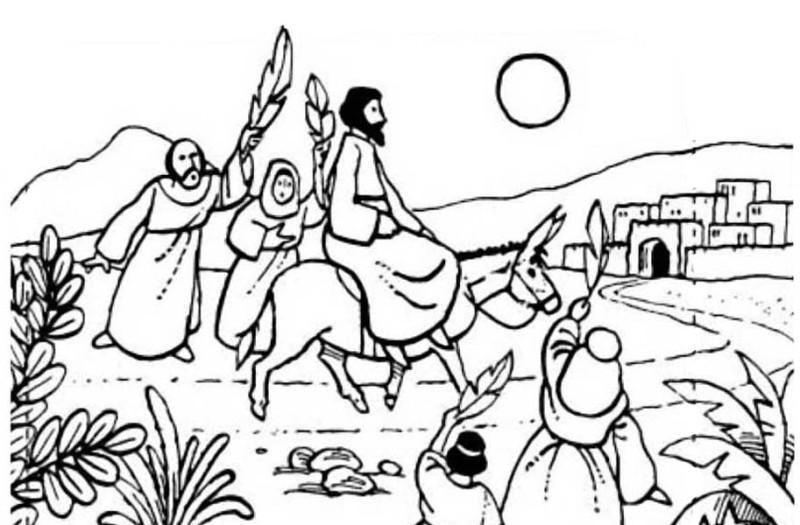 800x525 Jesus Rode A Donkey To Jerusalem In Palm Sunday Coloring Page