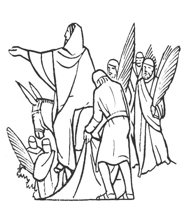 600x691 Jesus And People Of Jerusalem In Palm Sunday Coloring Page Color