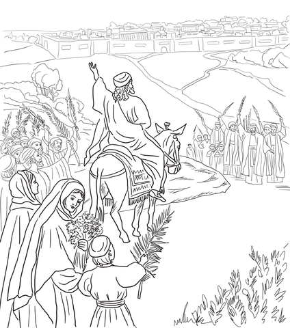 424x480 Triumphal Entry Into Jerusalem Coloring Page Free Printable