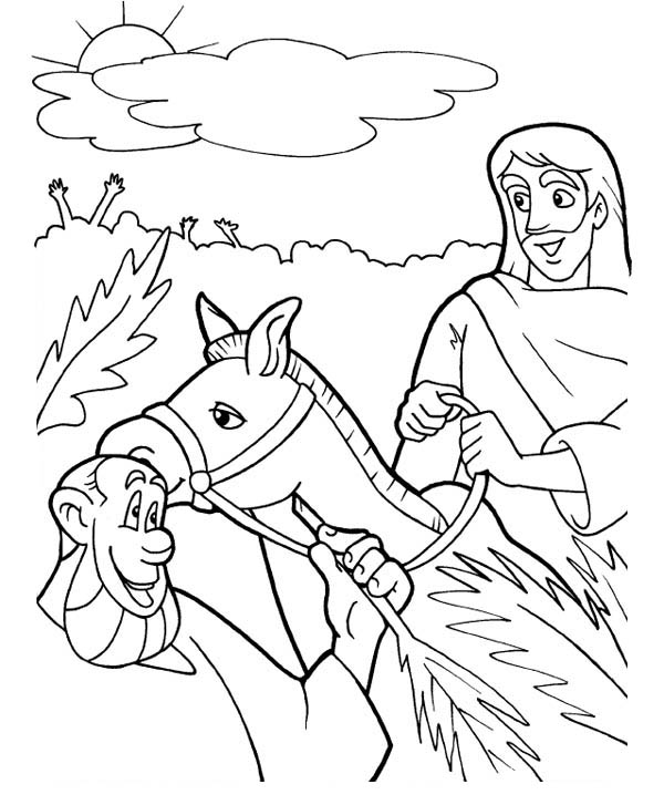 600x727 Triumphal Entry Of Jesus To Jerusalem In Palm Sunday Coloring Page
