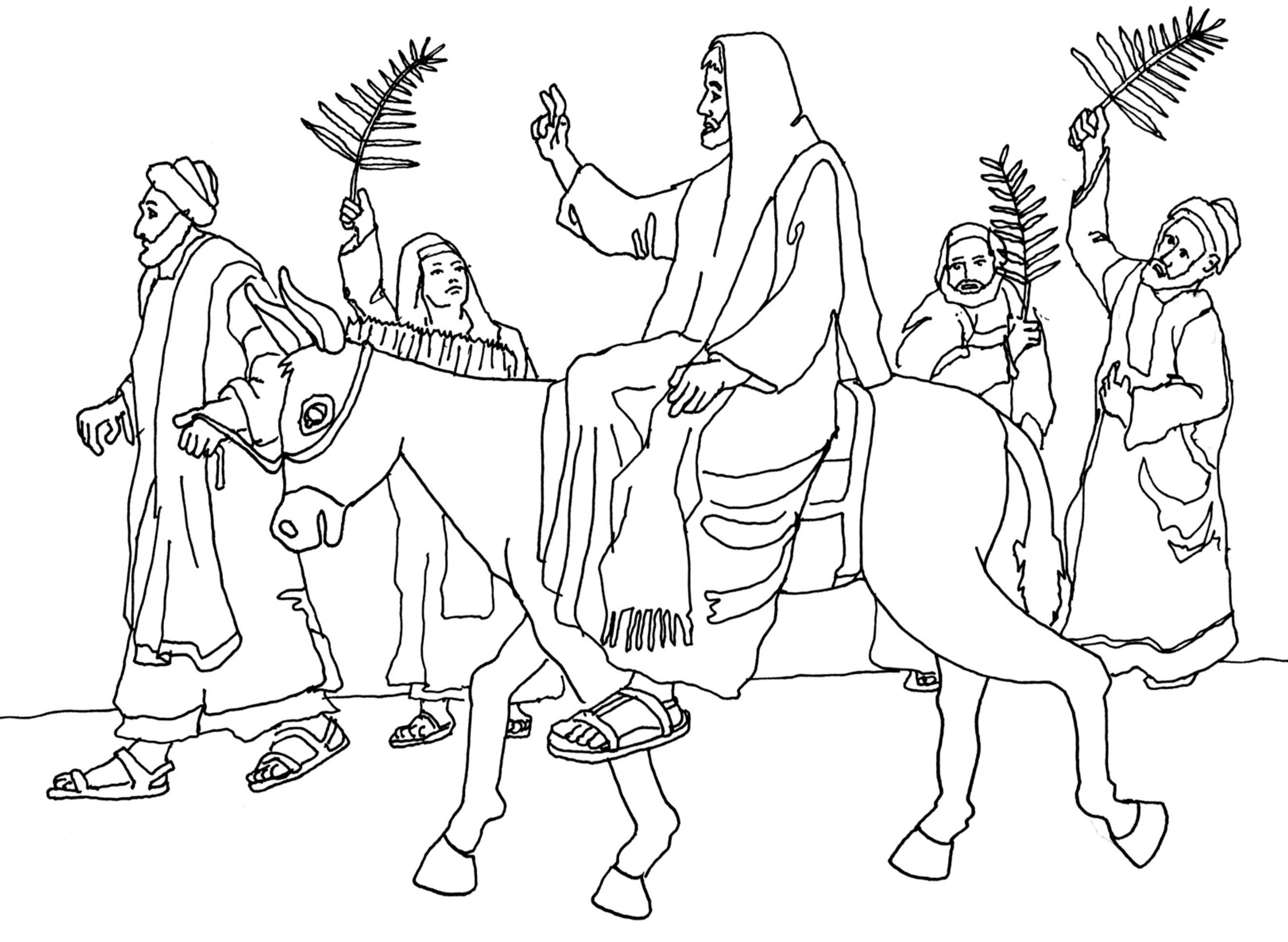 2645x1935 Free Coloring Page ~ Jesus Enters Jerusalem (Palm Sunday)