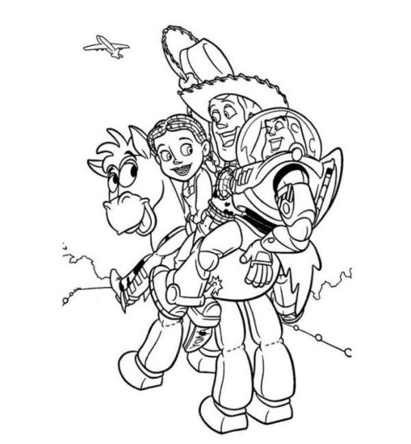 600x649 Woody Jessie Buzz And Bullseye Toy Story Coloring Page