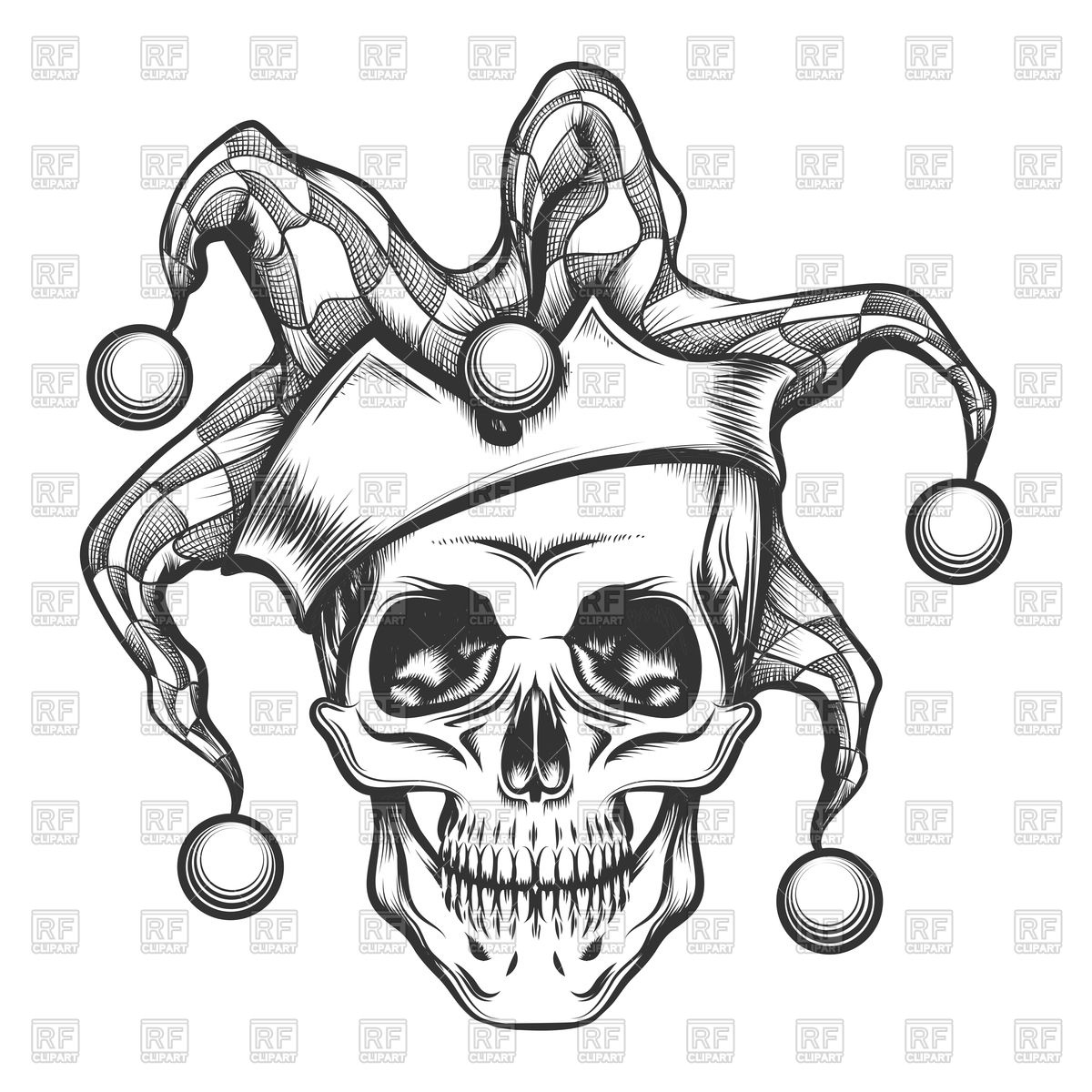 1200x1200 Hand Drawn Jester Skull In Fools Cap Royalty Free Vector Clip Art
