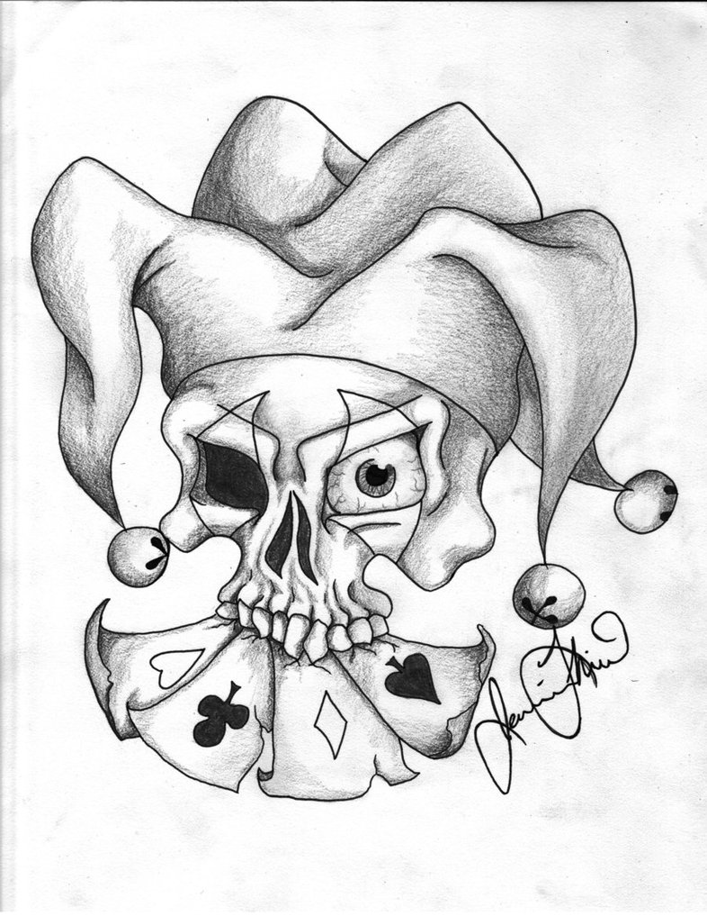 786x1017 Jester Skull In Black And Whit By Jaydash9