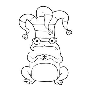 300x300 Freehand Drawn Speech Bubble Cartoon Frog Wearing Jester Hat