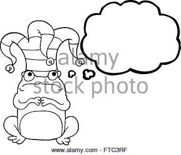 372x320 Freehand Drawn Cartoon Frog Wearing Jester Hat Stock Vector Art