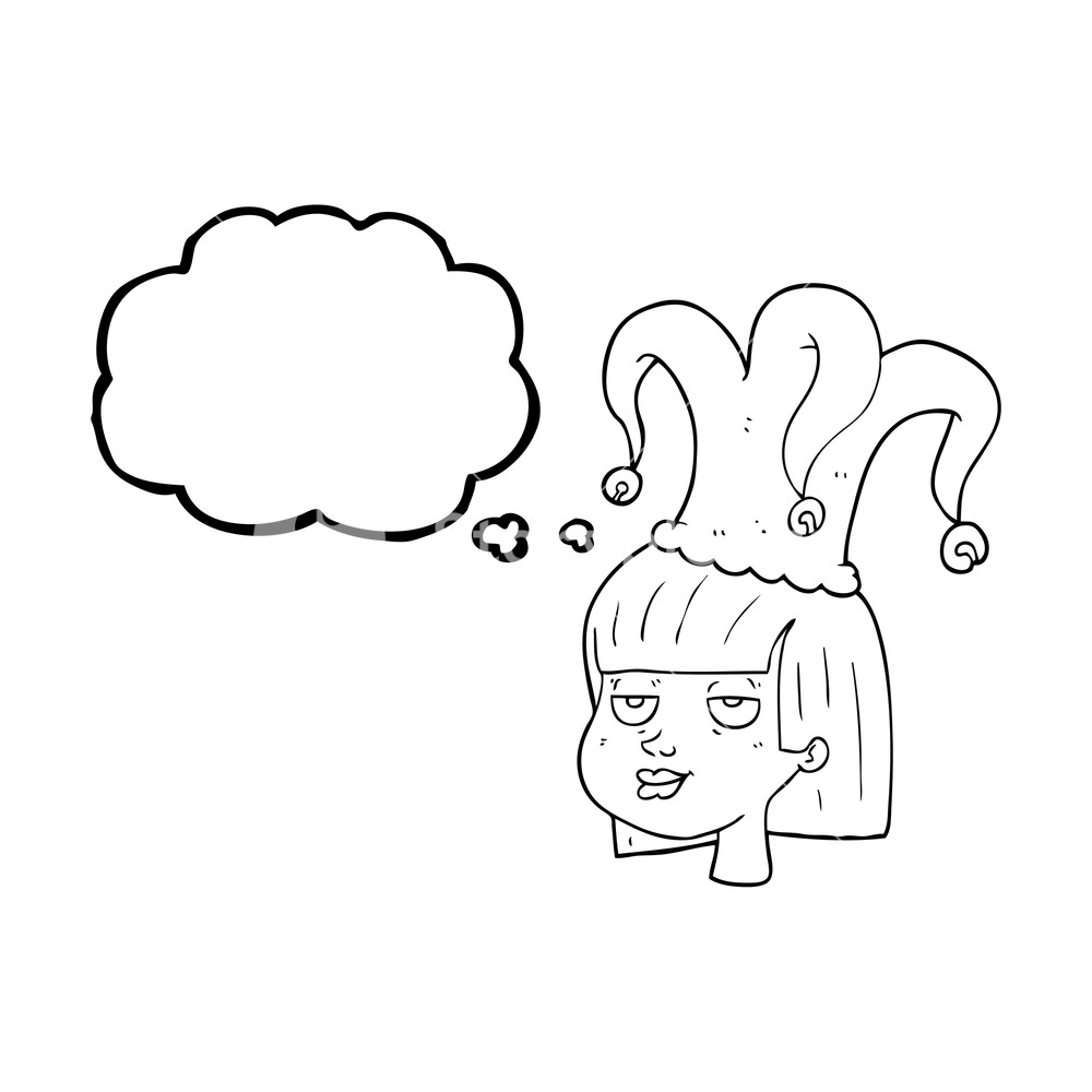 1000x1000 Freehand Drawn Thought Bubble Cartoon Female Face With Jester Hat