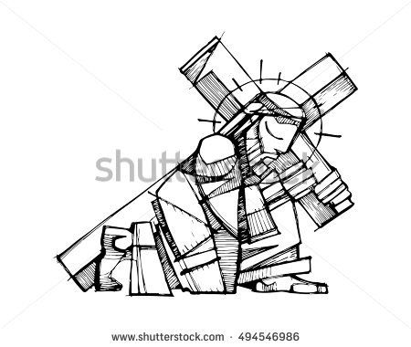 450x380 Hand Drawn Vector Illustration Or Drawing Of Jesus Christ Carrying