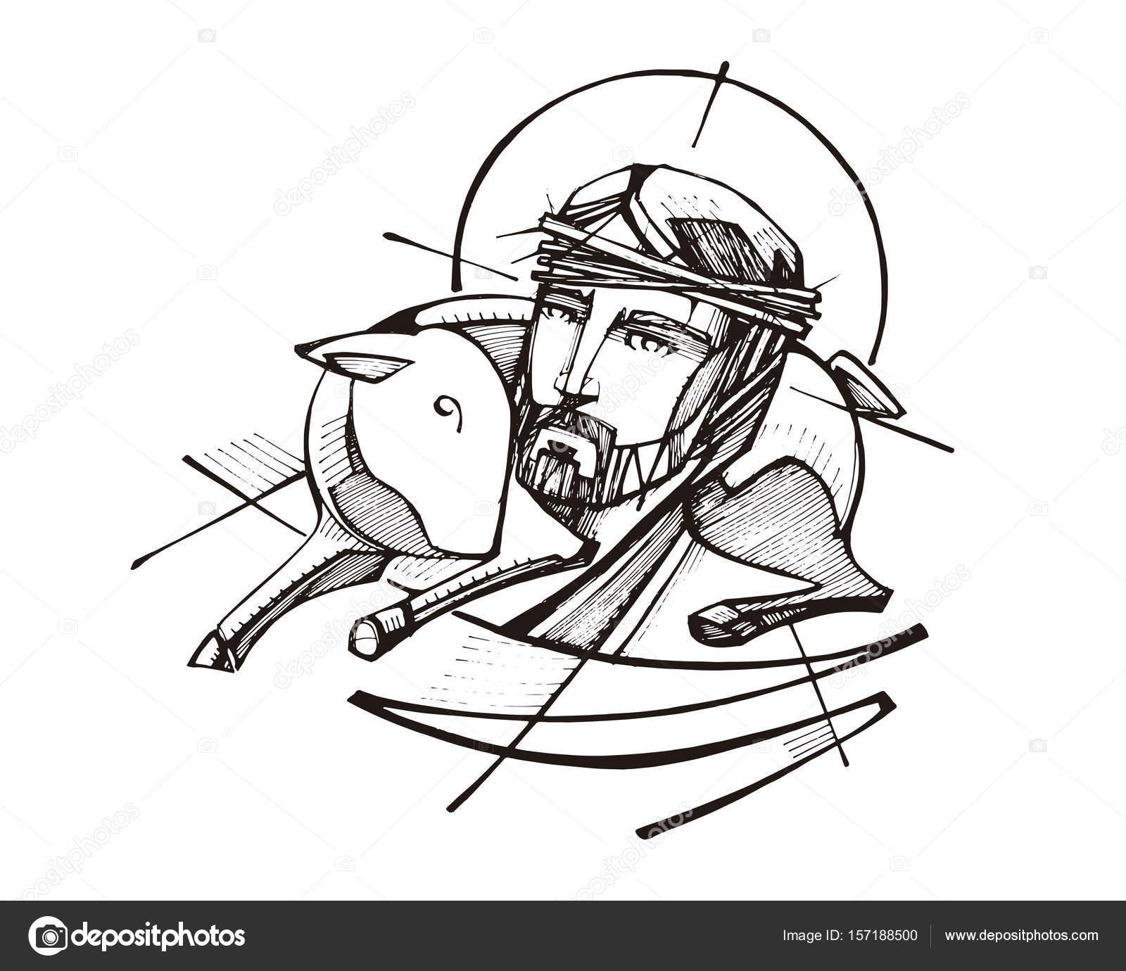 1600x1380 Jesus Christ Good Shepherd Stock Vector Bernardojbp