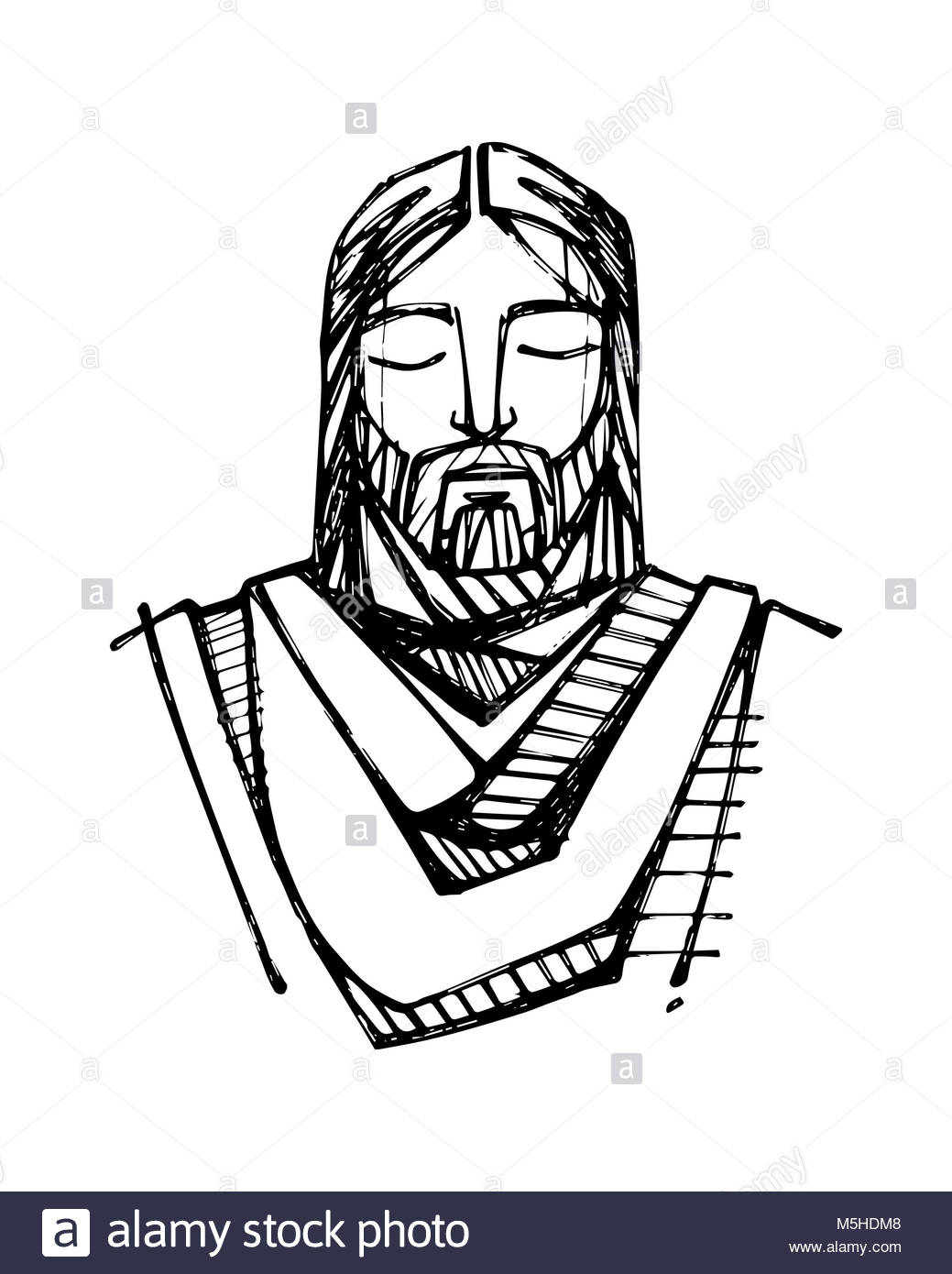1039x1390 Hand Drawn Illustration Drawing Jesus Cut Out Stock Images